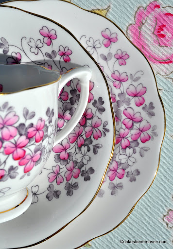 Pink Clover Pattern Hand Painted China