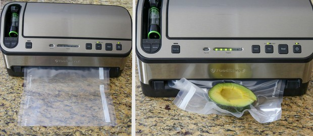 photo collage showing how to vaccum seal an avocado half with the The FoodSaver®