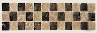 12x3 Cornerless Dark Emperador / Light Emperador 1x1 Polished Mosaic Border