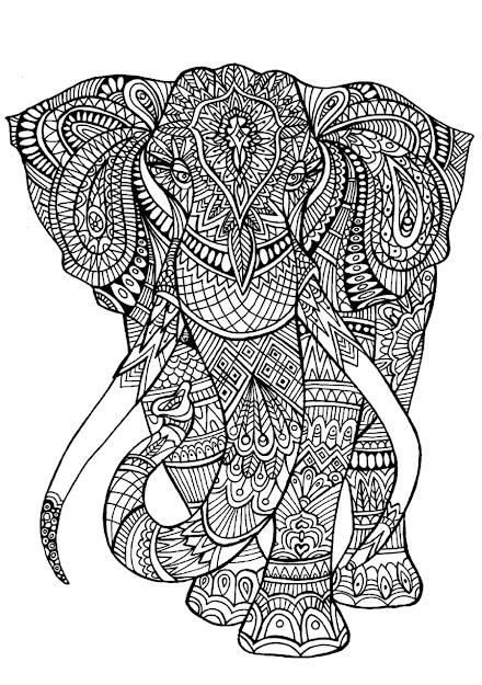 Printable Elephants On Elephants   Source  Animal Mandala  Coloring Pages