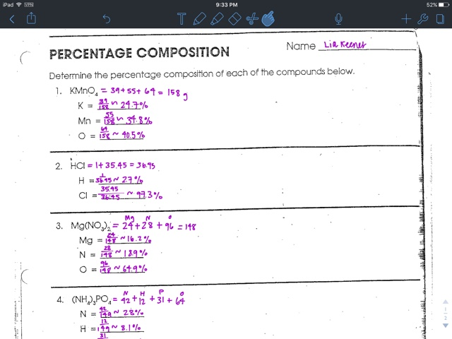 Liakeenerchemistry : Percentage Composition