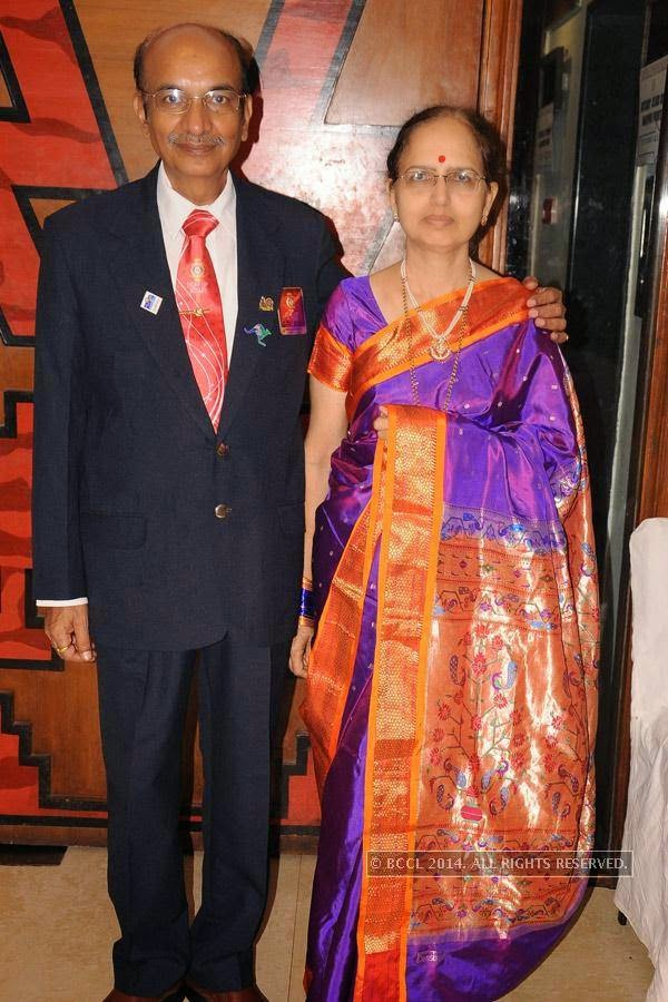 Prakash and Charulata Badge during Rotary Club Fort's installation ceremony, held at Heritage Hotel, in Nagpur.