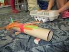 Using found materials and tape, children made
