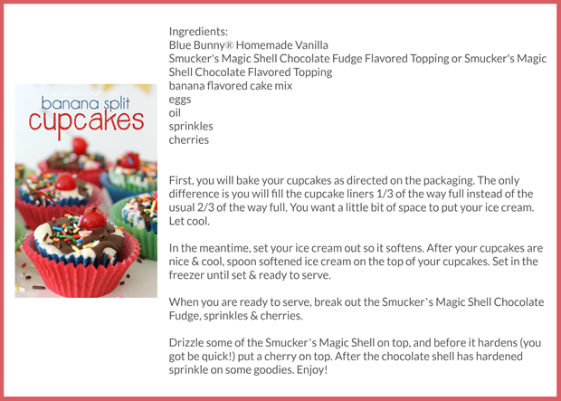 Banana Split Cupcakes recipe card