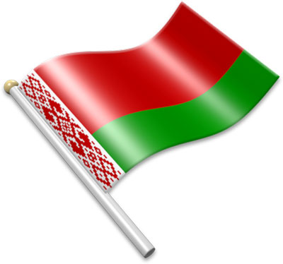 The Belarusians flag on a flagpole clipart image