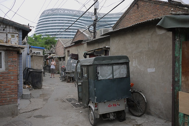 auto-rickshaw parked in a neighborhood near the Galaxy Soho in Beijing