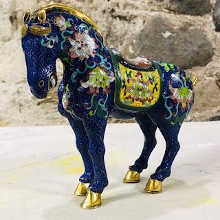 Cloisonne Dark Blue Large Standing Horse
