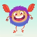 Cartoon Horned Funny Monster Illustration Excited Monsters Free Download Vector CDR, AI, EPS and PNG Formats