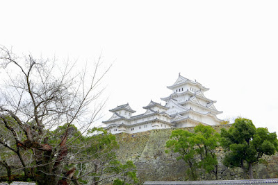 Himeji Castle also known as White Heron Castle (Shirasagijo) due to its elegant, white appearance is situated on a high hill