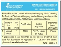 BEL Medical Officer Advertisement 2017 www.indgovtjobs.in