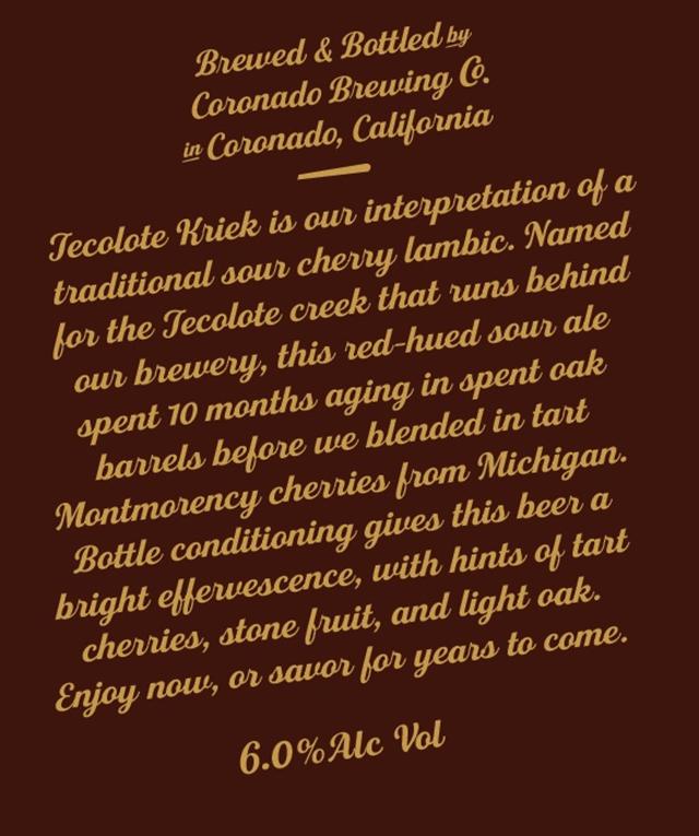 Coronado Adding Tecolote Kriek Bottles