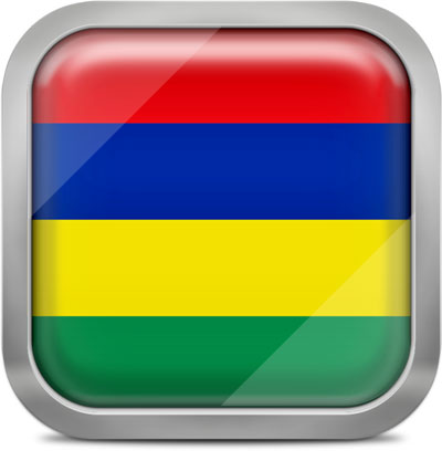 Mauritius square flag with metallic frame