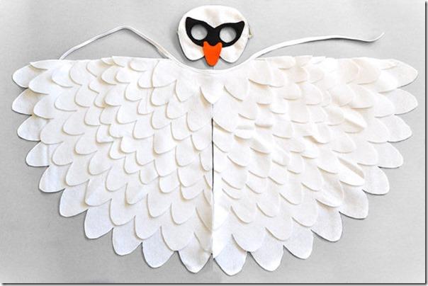 disfraz de pajaros, buhos cisnes con poncho (3)