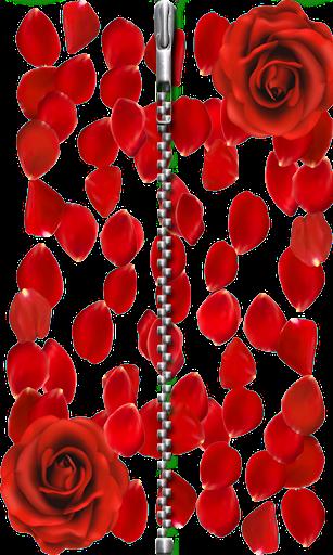 ジッパーロック画面:赤のバラ