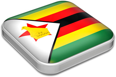 Flag of Zimbabwe with metallic square frame