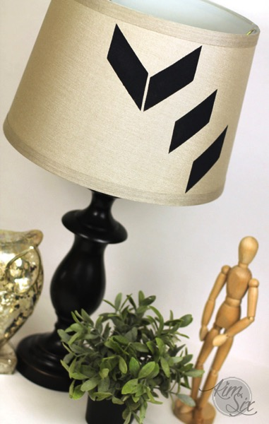 Modern geometric stenciled lampshade