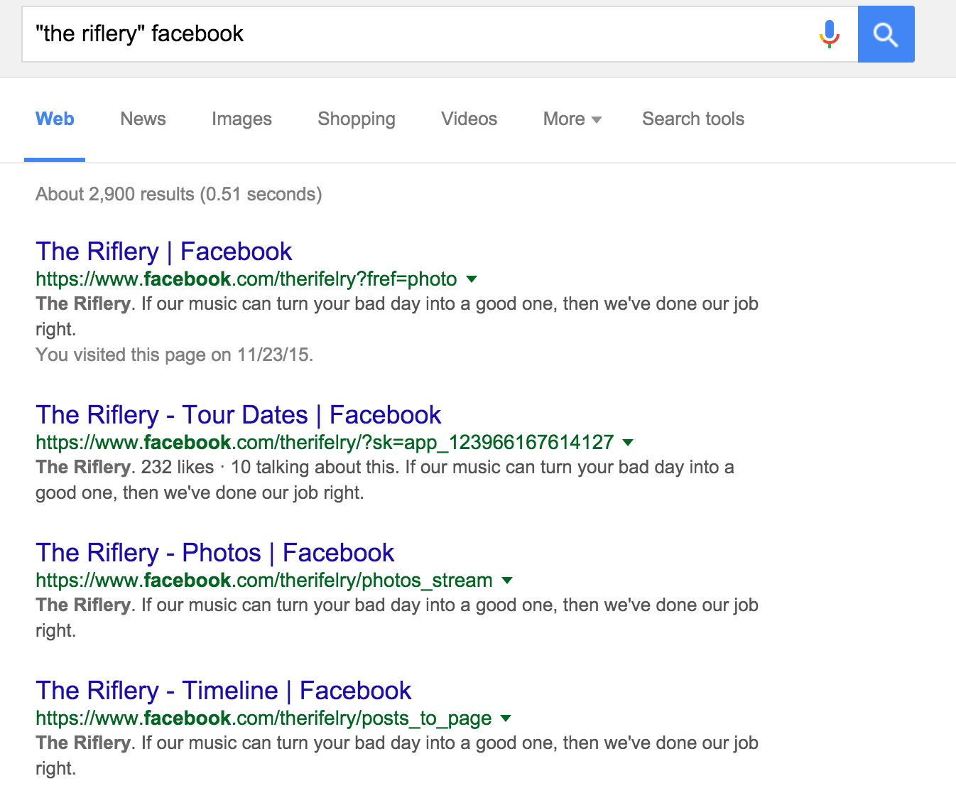 Google directing searches to broken and outdated facebook