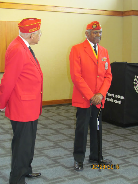 The first African American Marines shared their WWII experiences at the February presentation. These two Marines served in WWII.