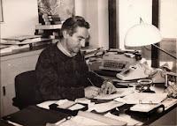 Attilio Pancioni nella redazione Rai di Ancona - 1978