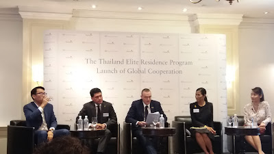 From left: Sunchai Kooakachai, Deputy MD, Colliers International, Pruet Boobphakam, Thailand Elite's President, Dominic Volek, Henley & Partners, Managing Partner and Head, Southeast Asia, Kobkarn Wattanavrangkul, Minister of Tourism and Sports of Thailand, and Kylie Luo, BDO Tax Advisory Executive Director.