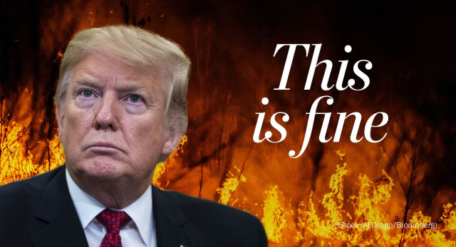 Trump amid the flames: 'This is fine'. President Trump's State of the Union address on 5 February 2019 zigzagged between paeans to unity and sops to his hardcore base. He eulogized World War II soldiers and then wheeled on immigrants and leftist rivals at home. But absent amid the nativist demagoguery and partisan jockeying was any reference to the threat looming above all others: climate change. Graphic: Al Drago / The Washington Post