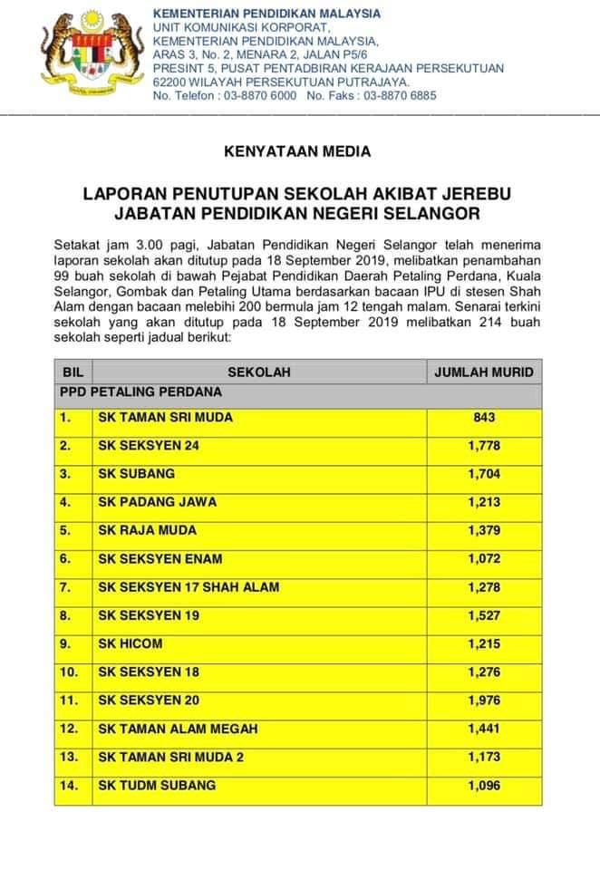 [Info Grafik] Senarai Sekolah Yang ditutup akibat Jerebu