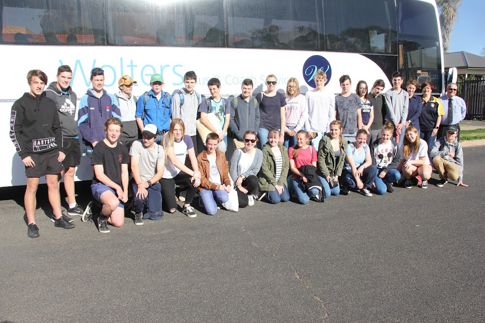 ON THE WAY: Narrabri High School Year 10 science students before leaving for Newcastle on Wednesday to compete in the state finals of the Science and Engineering Challenge, back, Dylan Gordon, Will Alexander, Caleb Dickinson, Nathan Suckling, Patrick Wheeler, Matthew Nash, Patrick Loder, Layten Smith, Emma Young, Georgia Goodhew, Auley O'Shea, James Madden, Rochelle Hensley, Jordan Palmer, Lachlan Russell, Jane Trindall representing sponsor Cotton Research and Development Corporation, science teacher Michelle Charalambous and relieving principal Dinos Charalambous, front, Jason Foxe, Daniel Hall, Cassidy Morley, Hailey Trudgeon, Jenna Baxter, Emily McFarland, Emily Stiller, Makayla Johannesen, Emily Larsen, Katie Davison, Grace Richardson and Mitchell Smith. Unavailable to make the trip were Karina Penberthy and Courtney Rudder.