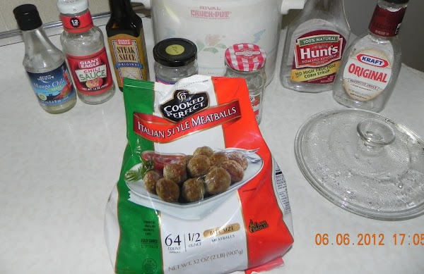 Add one bag of frozen meatballs into the sauce mixture.
