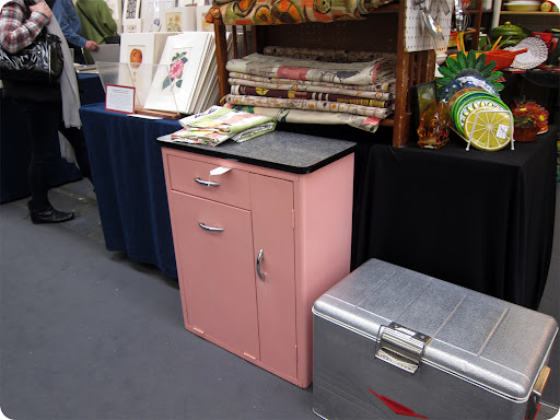 A retro pink metal cabinet that I wish I had room for in my apartment.
