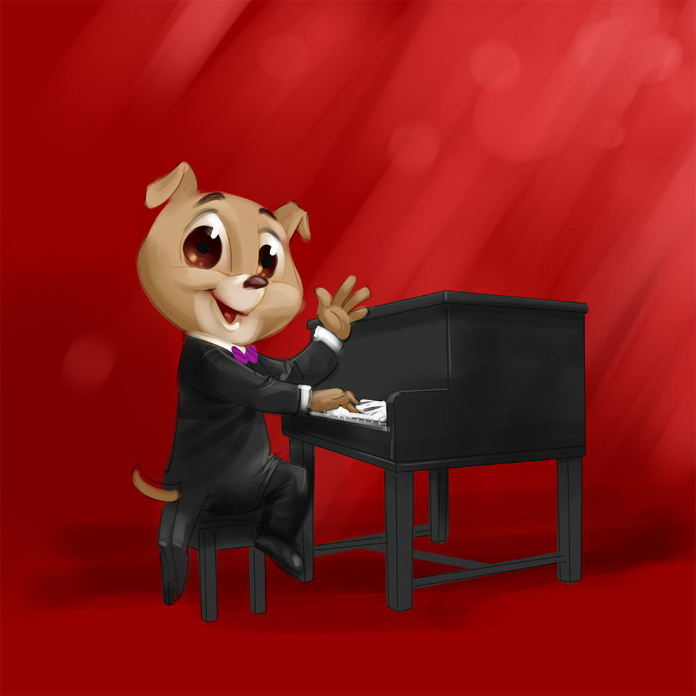 Funny cartoon illustration Piano playing dog mascot design