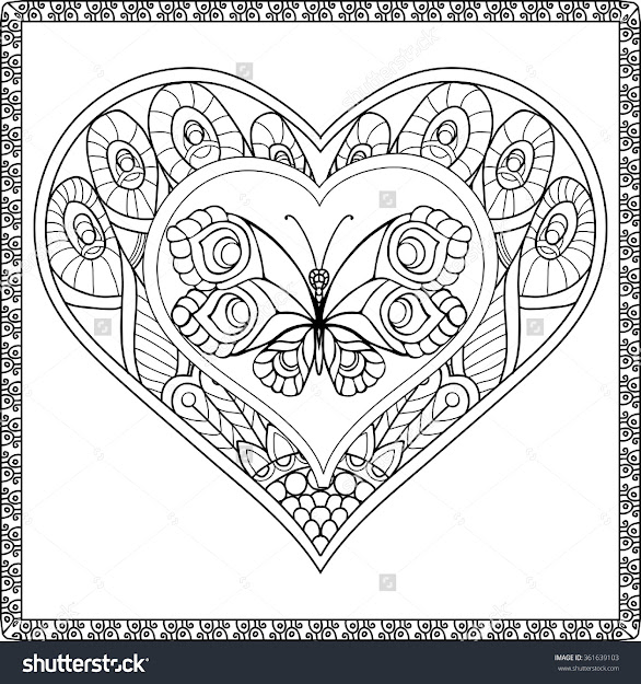 Love Heart With Butterfly Coloring Book For Adult And Older Children  Coloring Page