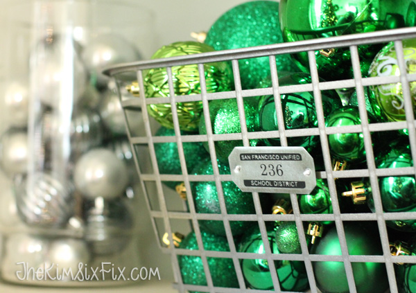 Locker baskets filled with christmas ornaments