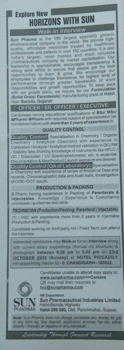 Sun pharma 23 October at chandighad for gujarat location