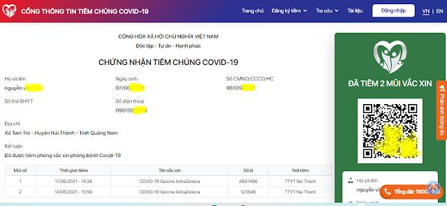 Cách kiểm tra thông tin đã tiêm chủng vacxin Covid-19 ở Việt Nam