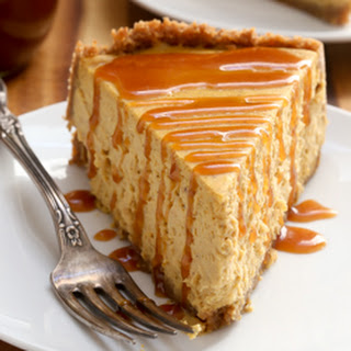 Spiced Pumpkin Cheesecake with Caramel Sauce