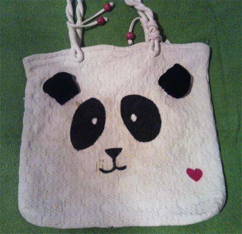 customização de ecobag com urso panda pintado