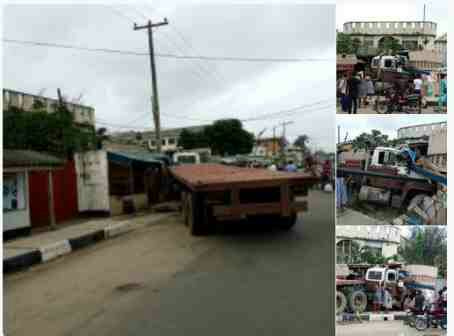 PHOTOS: Speeding Trailer Rams Into A Building In Kirikiri, Lagos