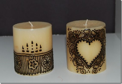 Blue Jewels Henna Inspired Candle Decor