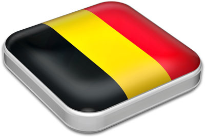Flag of Belgium with metallic square frame