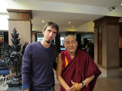 Osel with Khen Rinpoche Geshe Chonyi in Nepal Dec 2012.
