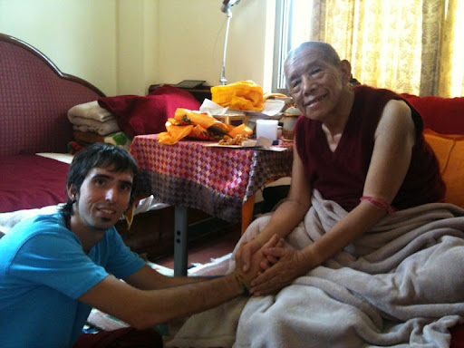 Osel meeting Lama Lhundrup at Kopan Monastery, July 2012