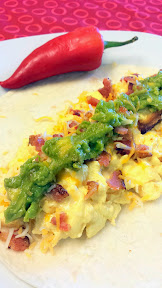 Bacon Avocado Jalapeno and Cheese Breakfast Burrito
