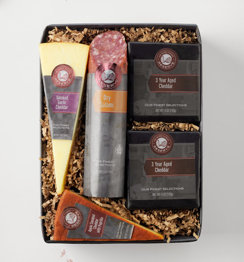 Create holiday traditions with Hickory Farms' Cheddar Flight with Salami Reserve Gift Box