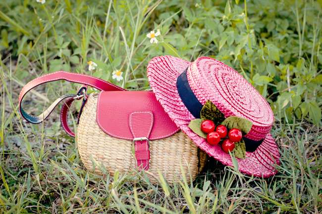Tanith Rowan Designs Cherries & Raspberry Pink Boater Hat & a straw basket purse | Lavender & Twill