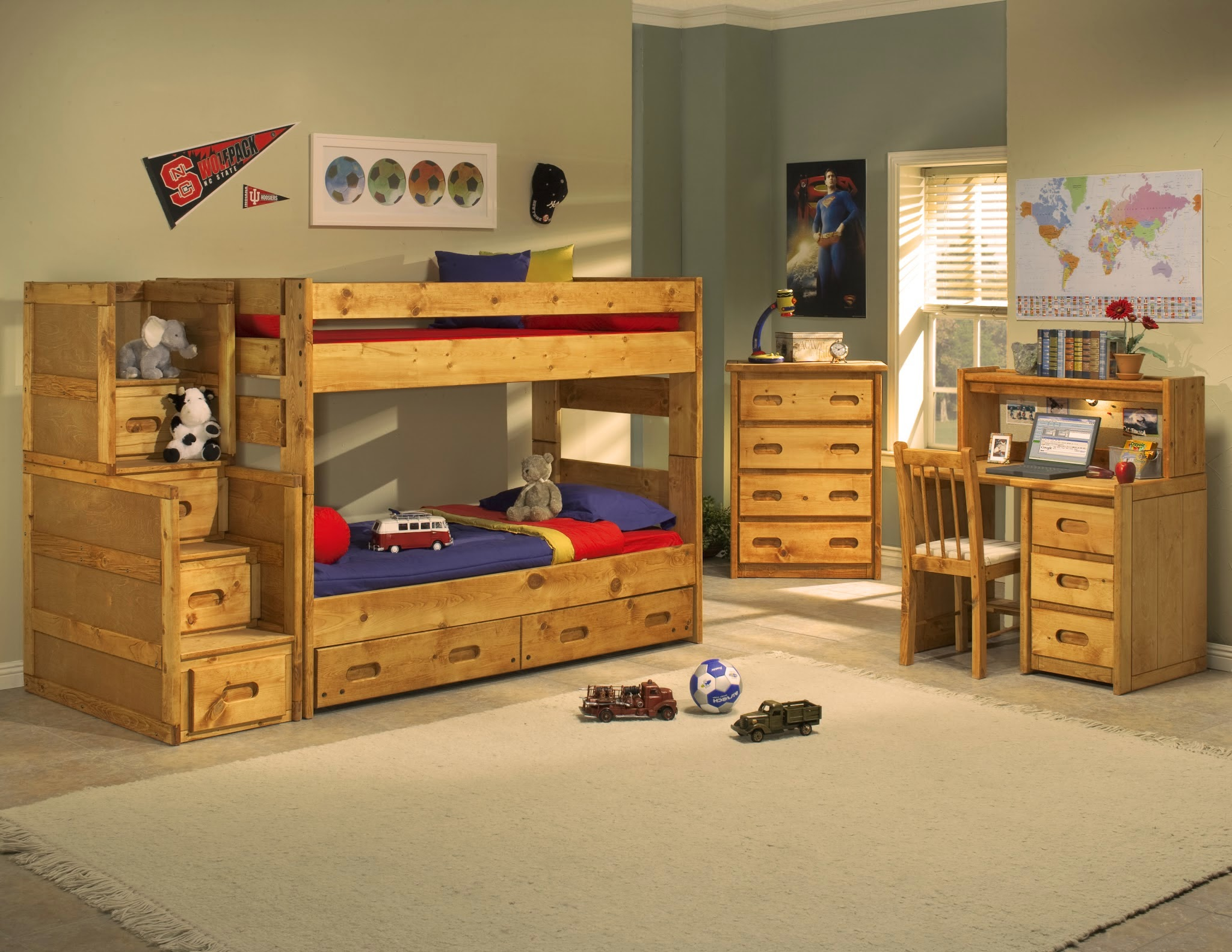 Perfect Solid Pine Bunk Beds and Bedroom Sets by Rustic Classics The solid pine bunk