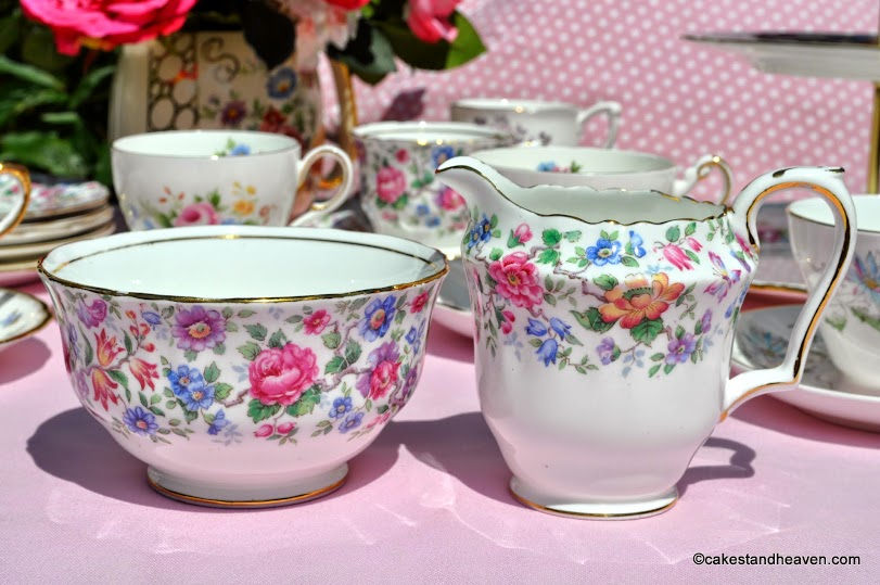 Crown Staffordshire Springtime Milk Jug and Sugar Bowl