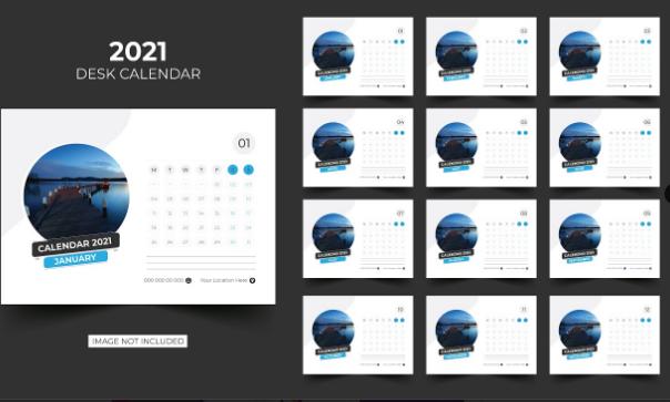 Design Kalender Lanscape dengan Foto di Sampingnya | Design Kalender Gratis