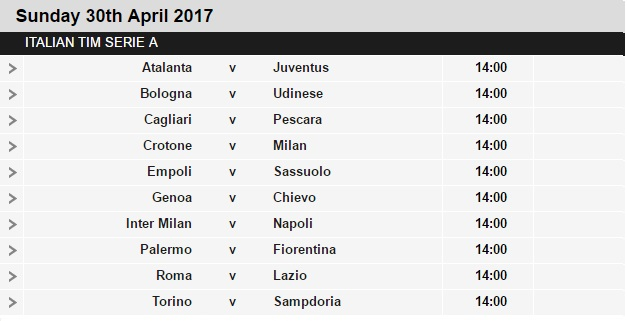 Serie%2BA%2Bschedule%2B34 Planning a Football Trip to Italy - SERIE A FIXTURES 2016/17