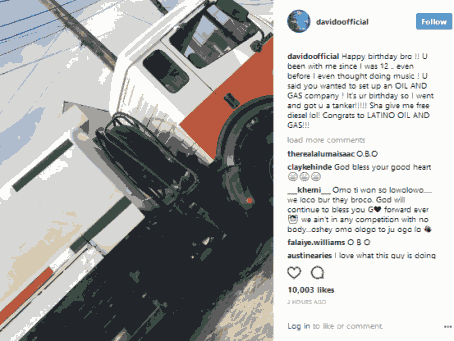 Davido buys a tanker for his close friend