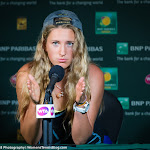 INDIAN WELLS, UNITED STATES - MARCH 20 : Victoria Azarenka talks to the media at the 2016 BNP Paribas Open